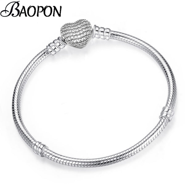 - BAOPON High Quality Authentic Silver Color Snake Chain Fine Bracelet Fit European Charm Bracelet for Women DIY Jewelry Making - guiro - Guiro