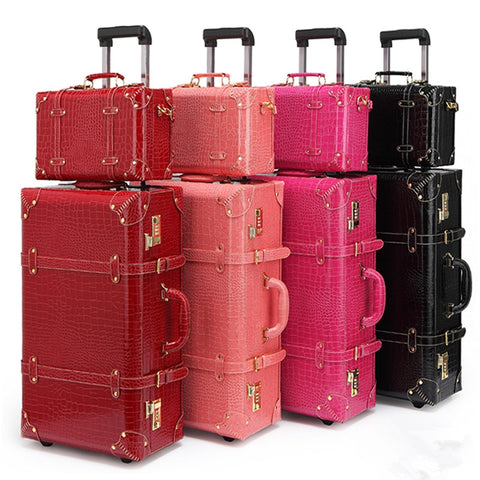 "- Vintage pu leather travel luggage,13"" 22"" 24""korea  trolley luggage bags on universal wheels,bride wedding red suitcase box - guiro - Zeinab Fashion"