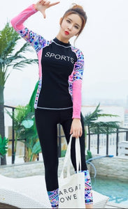,2018 Women Swimming Suit Full Body Covered Surfing Suit Long Sleeves Long Pants Rash Guards Two Piece Suits Women Swimwear,guiro,Zeinab Fashion.