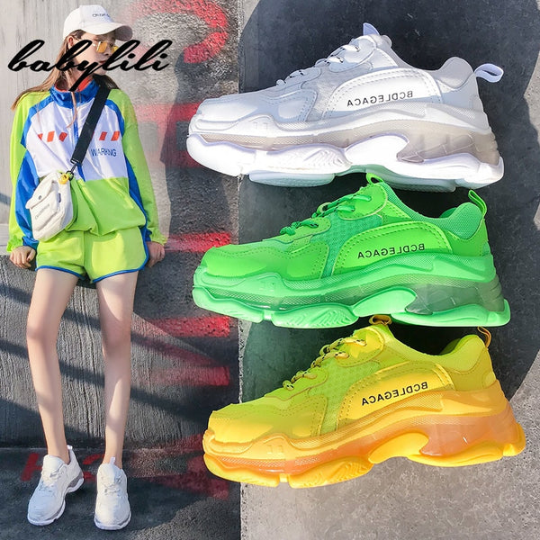 - Women Fashion Platform Sneakers for Women Chunky Causal  Dad Shoes Woman Thick Sole Ladies Jelly Shoe Laces Chaussures Femme - guiro - Zeinab Fashion