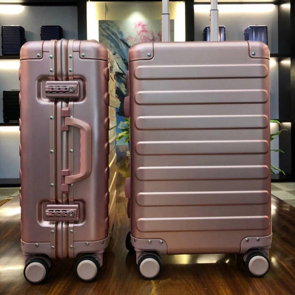 "- 100% Aluminum Alloy Business Travel Hard Shell Spinner Pull Rod Box TSA Lock Cabin Trolley Suitcase 20""24inch Carry on Luggage - guiro - Zeinab Fashion"