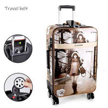 Load image into Gallery viewer,  - high quality PU Leather Rolling Luggage Spinner men Business Brand Suitcase Wheels 20 inch Women UBS Cabin Trolley - guiro - Zeinab Fashion
