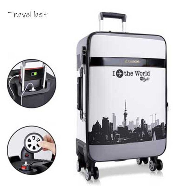 - high quality PU Leather Rolling Luggage Spinner men Business Brand Suitcase Wheels 20 inch Women UBS Cabin Trolley - guiro - Zeinab Fashion