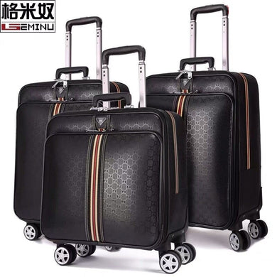 ,Ribbon Leather PVC Men Women Rolling Luggage Suitcase Designer 16/20/22/24 Inches High Quality 4 Wheels Spinner Airport Luggage,guiro,Zeinab Fashion.