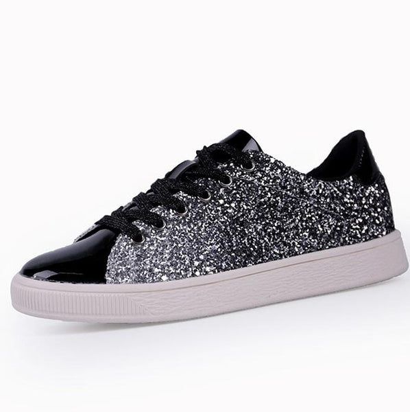 - Womens Fashion Casual Rock Glitter Sparkling Sneakers Women's Encrusted Lace Up Shoes White Sole Fashion Street Sneakers Shiny - guiro - Zeinab Fashion