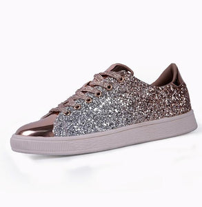 ,Womens Fashion Casual Rock Glitter Sparkling Sneakers Women's Encrusted Lace Up Shoes White Sole Fashion Street Sneakers Shiny,guiro,Zeinab Fashion.