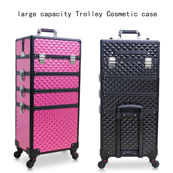- Women multi-layer large-capacity cosmetic case Box Nail tattoo Rolling luggage bag makeup case multi-function trolley suitcase - guiro - Zeinab Fashion