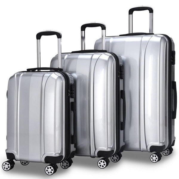 - 3 Piece Set 100% ABS  Luggage Set Traveling Luggage Bags with Wheels Free Shipping Women Men Business Travel Suitcase maletas - guiro - Zeinab Fashion