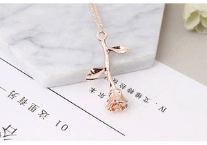 - Fashion Jewelry Collier Pink Gold Rose Statement Pendant Necklace Women's Beauty and Beast Jewelry Lovers Gifts  4CND24 - guiro - Guiro