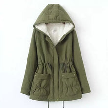 Load image into Gallery viewer, Winter Jackets,Winter Women Jacket Thickening Cotton Winter Jacket Hoodie Slim Long Flocking Warm Coat Fur Parkas Women Outwear Army Green,guiro,Zeinab Fashion.