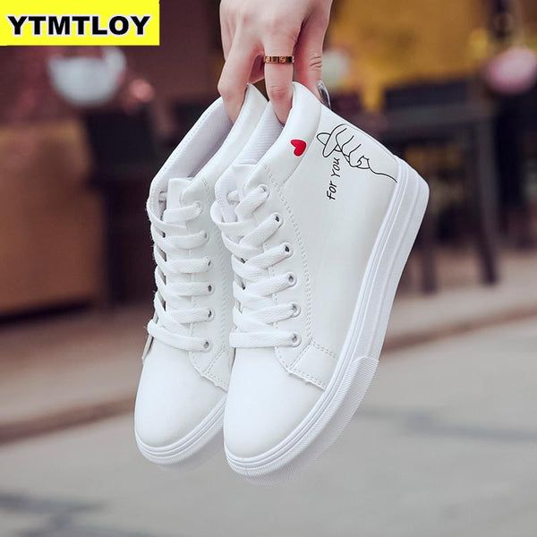 - High Top Sneakers PU Casual Shoes White Flat Female Vulcanized Shoe Lace Up Solid Chaussure Femme Woman  Heart-shaped - guiro - Zeinab Fashion
