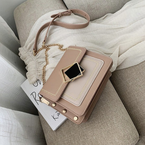 - Chain Pu Leather Crossbody Bags For Women 2019 Small Shoulder Messenger Bag Special Lock Design Female Travel Handbags - guiro - Zeinab Fashion