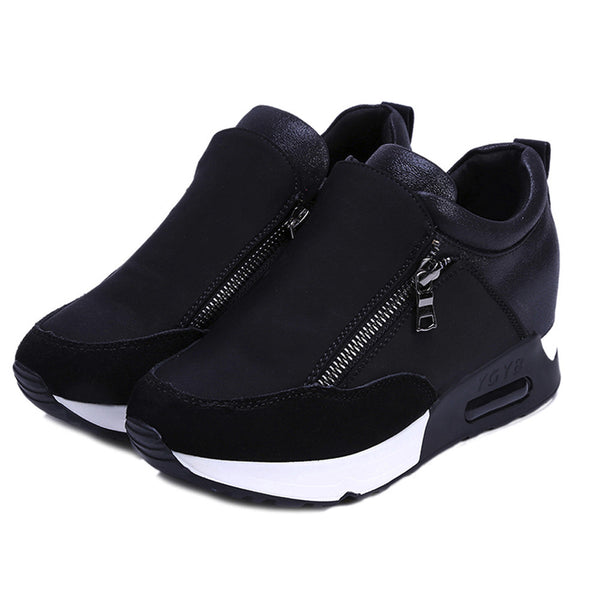 - Sneakers 2019 Running Hiking Thick Bottom Platform Wedges Shoes Woman sports Sneakers Spring Autumn Fashion Ladies black Shoes - guiro - Zeinab Fashion