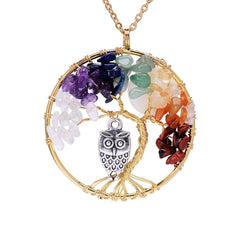 - Tree of Life Pendant Amethyst Rose Crystal Necklace Gemstone Chakra Jewelry - guiro - Shop Worldly