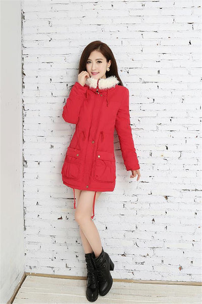 Women Coat Long Sleeve Turn-Down Warm Cashmere Plus Size Fashion Thick Cotton Winter Jacket Female Fall Outerwear
