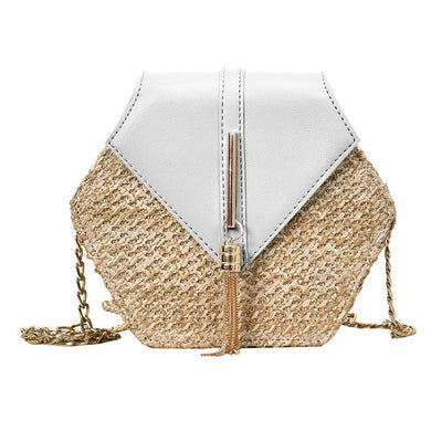 ,Hexagon Style Straw Shoulder Bag Women Summer Rattan Bag Handmade Woven Beach Bohemia bolsa feminina Fashion chain Crossbody bag,guiro,Zeinab Fashion.
