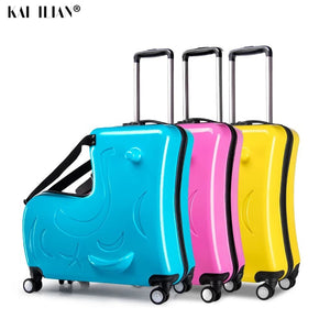 - new Kids Riding Trojanl Luggage Hot Boys Girls Travel Trolley Alloy Children Sitting Rolling Luggage Suitcase Spinner Wheels - guiro - Zeinab Fashion