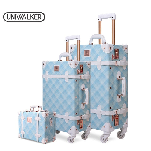 ,3PCS/SET Spinner Luggage Set Vintage Print suitcase PU Leather Water-resistant Upright Travel Trolley Rolling wheel box,guiro,Zeinab Fashion.