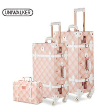 Load image into Gallery viewer, ,3PCS/SET Spinner Luggage Set Vintage Print suitcase PU Leather Water-resistant Upright Travel Trolley Rolling wheel box,guiro,Zeinab Fashion.