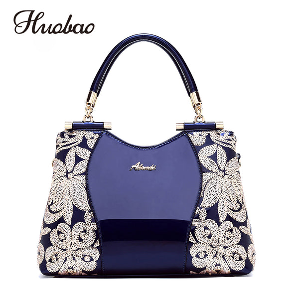 - 2019 New Women Patent Leather Handbags Sequin Embroidery luxury Shoulder Crossbody Bag Famous Brand Designer Women Messenger Bag - guiro - Zeinab Fashion