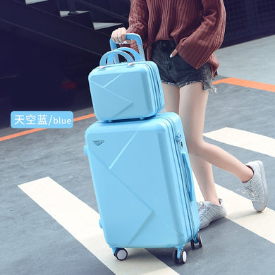,New Student Suitcase Female Universal Wheel Small Fresh Travel Trolley Case Candy Color Password Suitcase Set,guiro,Zeinab Fashion.