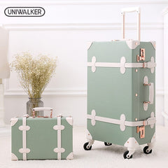 "- UNIWALKER 20""22""24""26"" Vintage Luggage,Password Lock Suitcase,Universal Wheels Trolley,PU Leather,Retro Rolling Luggage Bags - guiro - Zeinab Fashion"