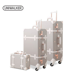 "- 3PCS/SET Vintage PU Travel Luggage,12""make-up bag & 20"" 26"" Retro Trolley Suitcase Bags With Spinner Wheel With Combination Lock - guiro - Zeinab Fashion"