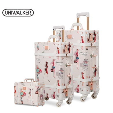 ,Fashion Girl Retro Rolling Luggage Bagages Pu Suitcase Set Trunk Vintage Luggages With Spinner Wheels for Women,guiro,Zeinab Fashion.