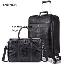 Load image into Gallery viewer,  - Simulation leather 16/20/22/24 inch size business luggage boarding handbag+Rolling Luggage Spinner brand Travel Suitcase - guiro - Zeinab Fashion