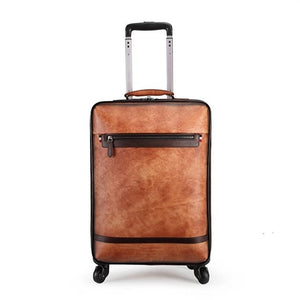 - MAHEU Fashion Genuine Leather Luggage Silence Rolling Case Real Cowskin Mecanum wheels Leather Luggage Travel Suitcase Men Women - guiro - Zeinab Fashion