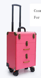 - Women large capacity Trolley Cosmetic case Rolling Luggage bag,Nails Makeup Toolbox,Multi-layer Beauty Tattoo Trolley Suitcase - guiro - Zeinab Fashion