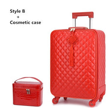 "Load image into Gallery viewer,  - Women 's  20""24"" inch Travel Rolling Luggage Suitcase bag set,Red Waterproof PU leather Bag with Wheel , New Trolley case - guiro - Zeinab Fashion"