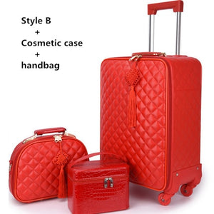 "- Women 's  20""24"" inch Travel Rolling Luggage Suitcase bag set,Red Waterproof PU leather Bag with Wheel , New Trolley case - guiro - Zeinab Fashion"