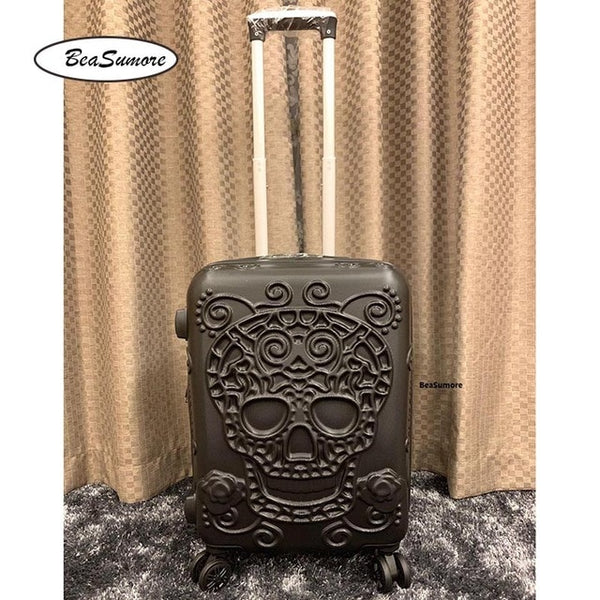 - Fashion 3d Skull Rolling Luggage Sets Spinner High Capacity Suitcase Wheels Cabin password Trolley - guiro - Zeinab Fashion