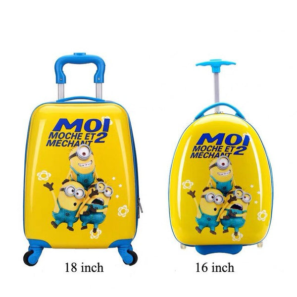- 16/18 inch Kids Cartoon rolling luggage children travel suitcase on wheel trolley luggage Wheels Girls School backpack bag - guiro - Zeinab Fashion