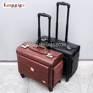 "- Universal wheel flight attendant Cabin Luggage bag,New pilot PU Rolling Travel Suitcase ,19"" Air crew Trolley case,Spinner box - guiro - Zeinab Fashion"