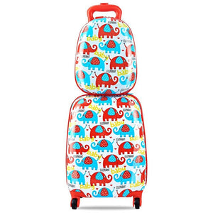 "- Cute Cartoon Kids Suitcase 12"" Backpack and 16"" Rolling Suitcase Set Travel Suitcase with Wheel Free Shipping mala de viagem - guiro - Zeinab Fashion"