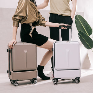 "- BXJZHTLRZK new suitcase front open computer bag high quality business 20"" 24"" rolling luggage boarding student suitcase - guiro - Zeinab Fashion"