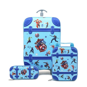 - 3PCS/set cartoon Spider Man students trolley case kids Climb stairs Luggage Travel stereo suitcase The Avengers child pencil box - guiro - Zeinab Fashion