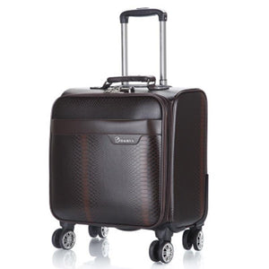 ,100% PU Leather Rolling Spinner Luggage bag Men Business Suitcase Wheels 18 inch Carry On Travel Bags laptop Woman Trolley case,guiro,Zeinab Fashion.