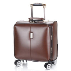 - 100% PU Leather Rolling Spinner Luggage bag Men Business Suitcase Wheels 18 inch Carry On Travel Bags laptop Woman Trolley case - guiro - Zeinab Fashion