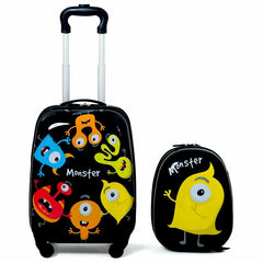"- Cute Cartoon 2 pcs Kids Suitcases Luggage Set 12"" Backpack &16"" Rolling Suitcase Light Weight Design Carry on Luggage with Wheel - guiro - Zeinab Fashion"