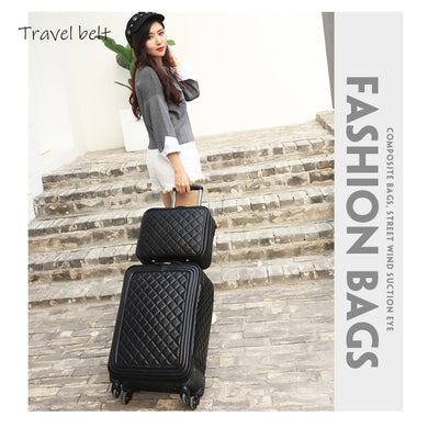 - Travel Belt personality Retro 16/20/24 inch women spinner leather handbag+Rolling Luggage Spinner brand Travel Suitcase - guiro - Zeinab Fashion