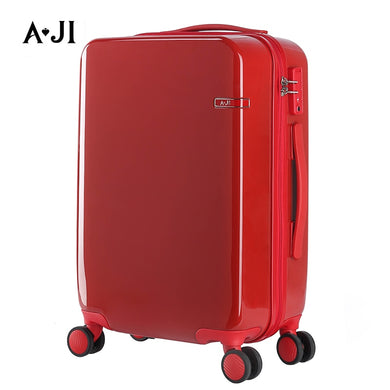 ,Women Red Suitcase Rolling Luggage Trolley Case Hardside PC TSA Lock Aluminum Telescoping Handle Carry-Ons 20