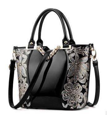 - Luxury Sequin Embroidery Women Bag Patent Leather Handbag Diamond Shoulder Messenger Bags Famous Brand Designer LL242 - guiro - Zeinab Fashion
