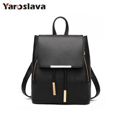 - Women Backpack High Quality PU Leather School Bags For Teenagers Girls Leisure Backpacks Candy Color LL18 - guiro - Zeinab Fashion