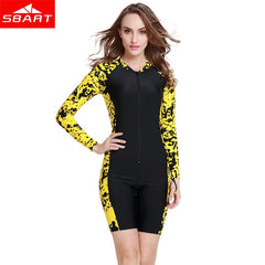 - SBART Men Women Lycra Rashguards One-piece Long Sleeve Short Pant Upf50 Swimming Scuba Diving Bathing Suit Surfing Rashguards - guiro - Zeinab Fashion