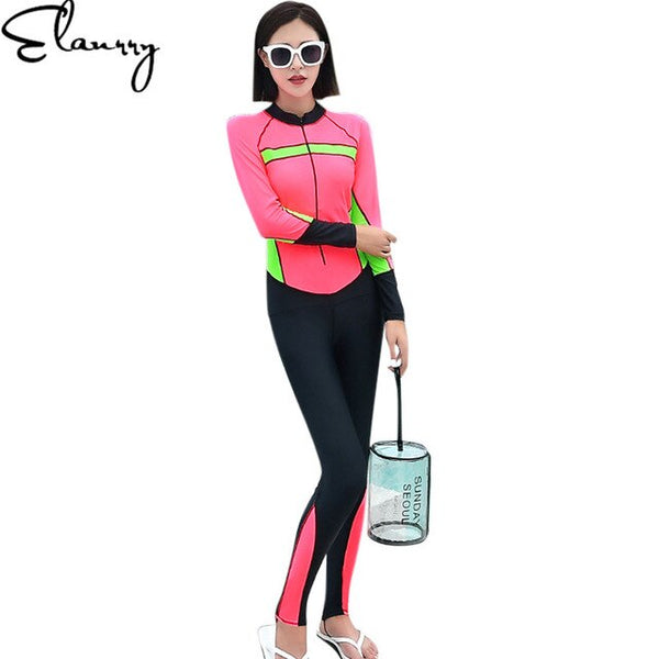 - 2018 Long Sleeves Long Pants Women Swimsuit Sport Swimwear Surfing Suits Diving Suits Summer One Piece Beach Wear Rashguards - guiro - Zeinab Fashion