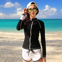 Load image into Gallery viewer,  - Couples Rash Guard Men Women Long Sleeves Shirt Shorts Lovers Surfing Clothing Solid Black And White Zipper Rash Guards Winsurf - guiro - Zeinab Fashion