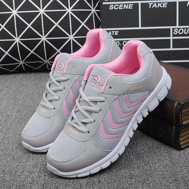 - Koovan Women Net Sports Shoes 2019 New Breathable Couple Boys Girls Lightweight Casual Women's Shoes White Travel Sneakers - guiro - Zeinab Fashion